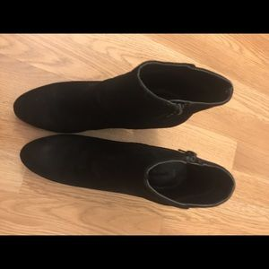 Black suede booties with bejeweled block heal